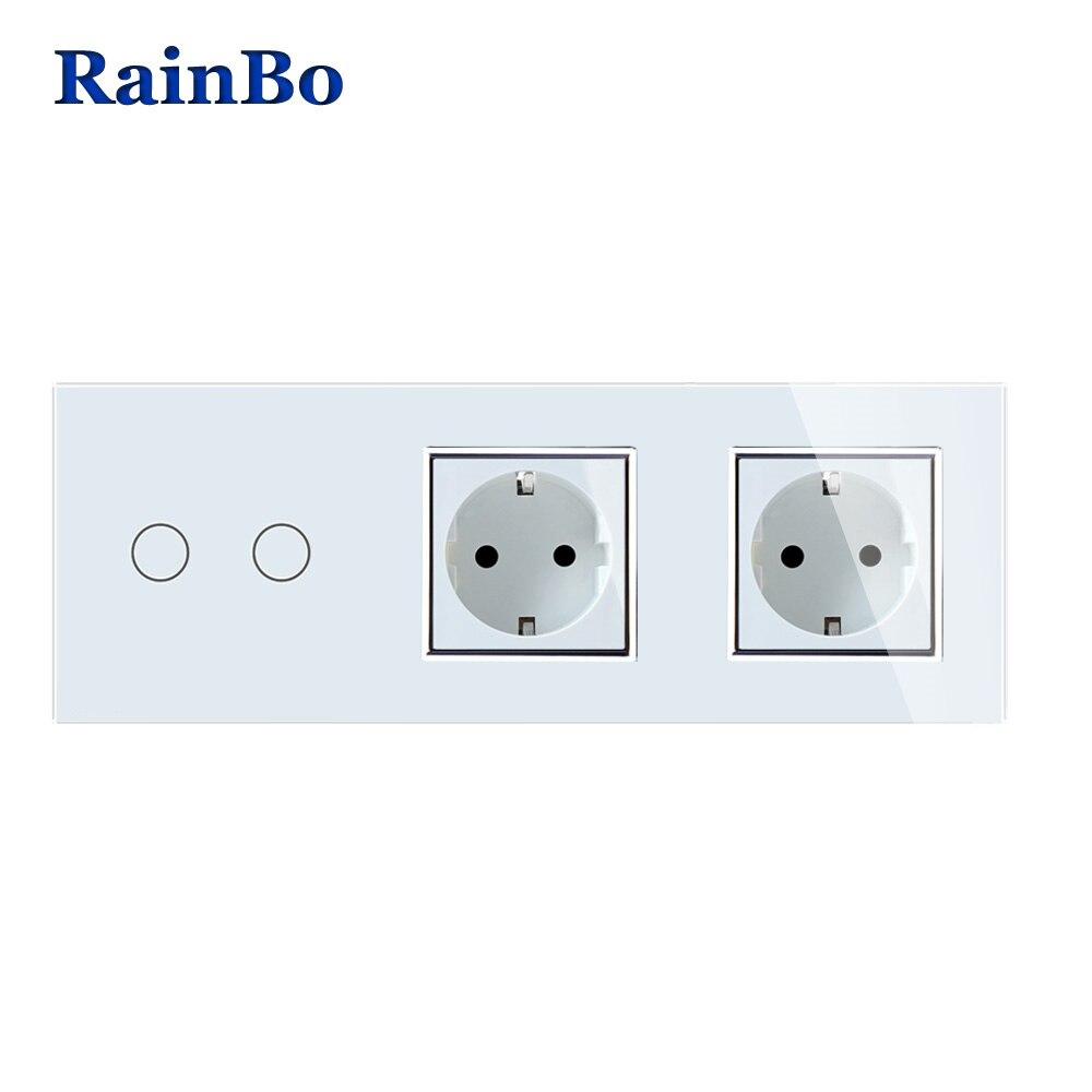 RainBo Marque Cristal Verre Panneau Électronique Mur Socket UE Tactile Commutateur Écran de Contrôle Interrupteur 2gang1way A39218E8ECW/B