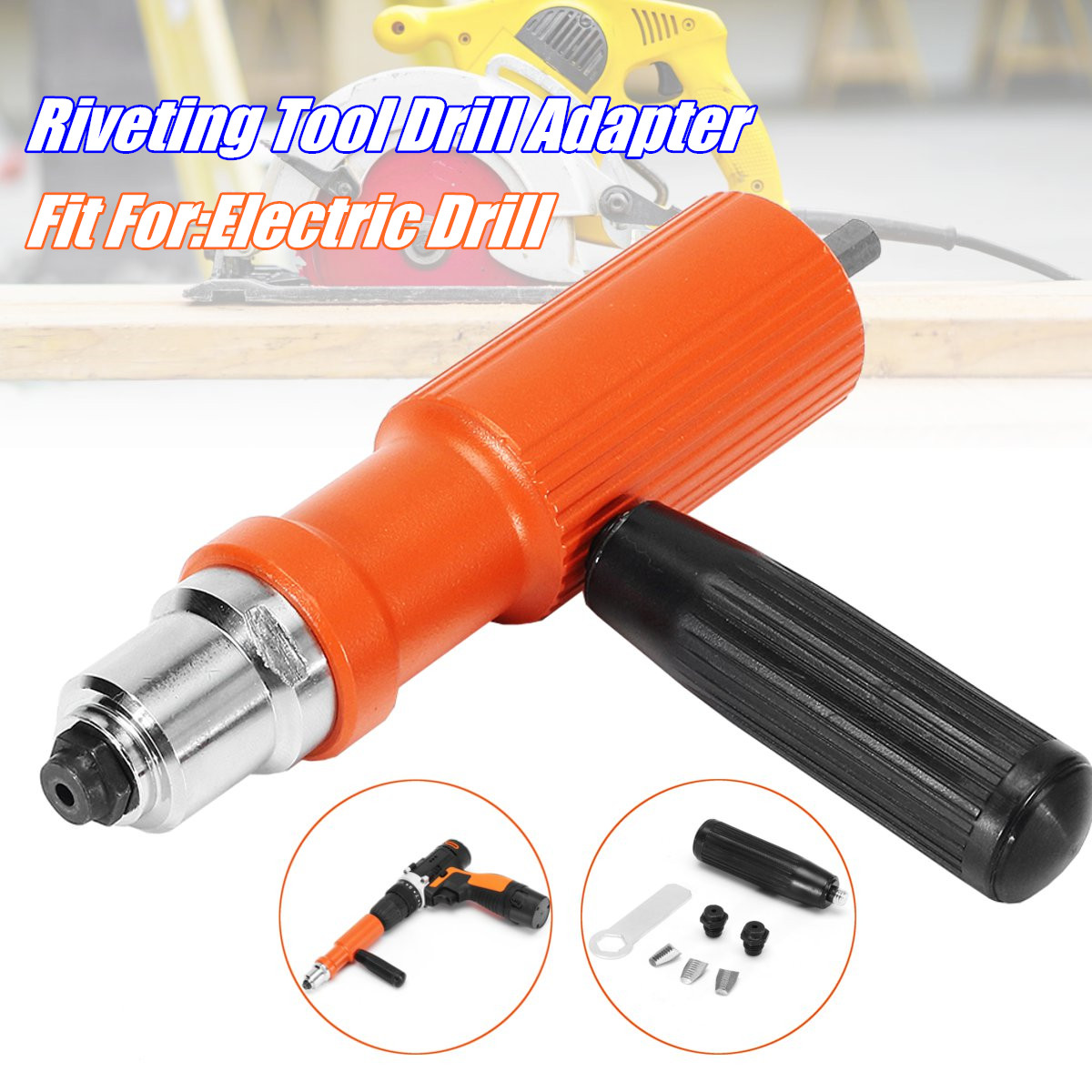 Drillpro Riveting Tool Drill Adapter Upgraded Electric Rivet Nut Gun Cordless Riveter Adaptor for Electric Drill Nibbler