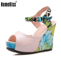 KemeKiss Lady Bohemia High Wedges Sandals Print Ankel Strap Peep Toe Summer Shoes Women Platform Vacation