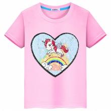 2019 nuevo verano unicornio amor flip paño pegatinas costura lentejuelas ropa para niños Camiseta de algodón Niñas Ropa