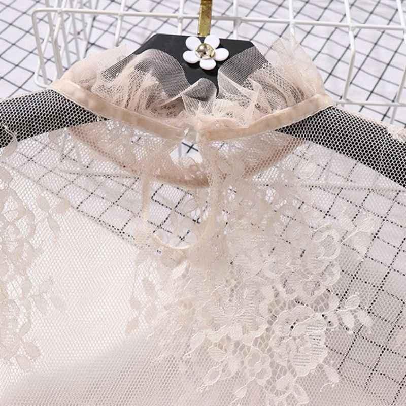 Blusa de malla transparente de manga larga acampanada de encaje floral bordado camisa traje de baño cubrir volantes cuello Color sólido B