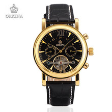Men Wristwatches Luxury Brand ORKINA Leather Automatic Mechanical Watches Black Gift for Men
