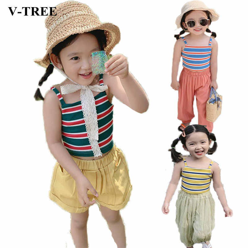 Summer 2019 Girls T-shirt Striped Tops For Kids Cotton Children Undershirts Toddler Camisole Baby Tees Girl Singlets Clothing