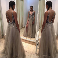 Shinning Deep V Neck Prom Gown Backless Beads Sequins Tulle Side Split Sexy Wedding Party Dresses