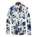 Men's Fashion Fitness Man Long Sleeve Shirts chemise homme Men's Fashion Clothing Slim Casual Floral Printed Shirts