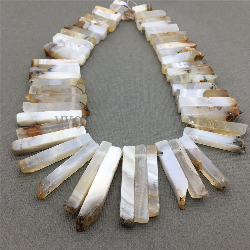 MY0588 Natural Agates Stick Slab Beads,Matte Dagger Spike Point Drilled Necklace Making Beads (2)