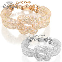 Double Chain Stardust Bracelet 18K Silver Color And Gold Color Wire Mesh 2 Layers Tie A