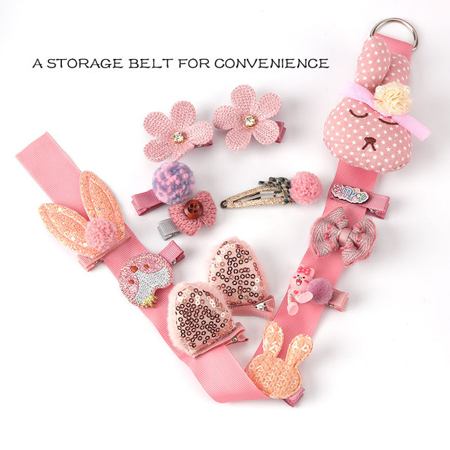 24 Piece clip set Cute cartoon rope bow flower animal Elastic hair band ring 4
