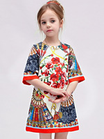 Milan Creations Girls Dresses Summer 2015 Brand Princess Dress Children Clothing Fan Print Girls Christmas Dress