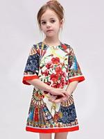 Milan Creations Girls Dresses Summer 2015 Brand Princess Dress Children Clothing Fan Print Girls Christmas Dress