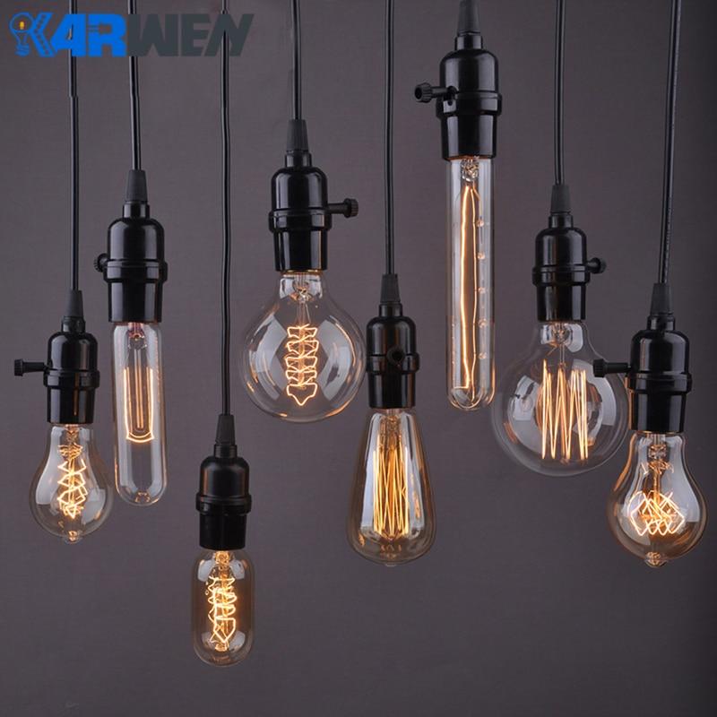 Edison Bulb E27 40W Incandescent Retro Lamp 220V ST64 A19 T45 T10 G80 G95 Ampoule Vintage Bulb Edison Lamp filament Light bulb сушилка для белья brabantia 385766 нержавеющая сталь