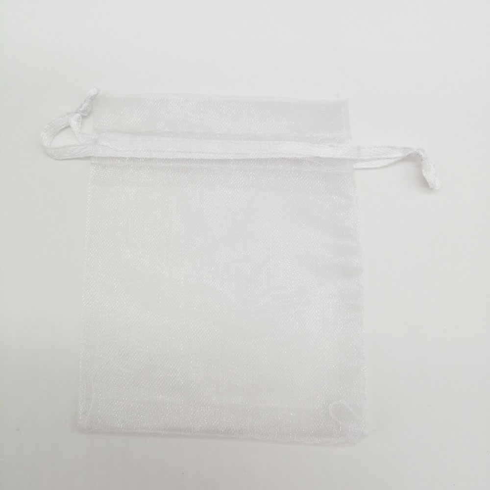 50 piezas al por mayor bolsas de Organza de 5x7 DE NAVIDAD bolso de Organza bolsas de tela para dulces bolsa de regalo de boda de Organza cordón exhibición de la joyería