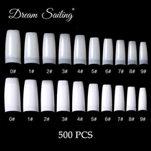 500PCS Nail Tips French Acrylic Artificial Fake False Nails Nail Art Decoration White/Natural White Accessories Free Shipping bz2025 french style nail art decorative artificial nail tips red white 24 pcs