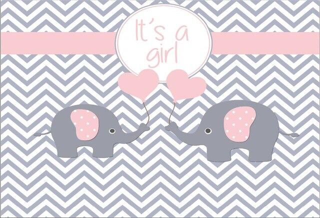 7x5FT gris Chevron elefante rosa es la chica bebé ducha