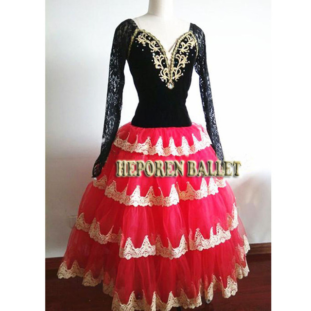 High Quality Professional Customized Flamengo Black Red Ballet Dresses,Romantic Long Sleeve Tulle Tutus Don Quixote Ballet HB860