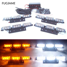 4 X 9 LED auto flash Strobe Lights 36 car vehicle Flashing strobe lamps bulbs 3 flashing modes Red Blue White Green Amber