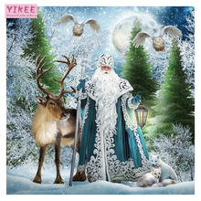 H541 christmas full diamond painting kit, santa and deer, cross stitch