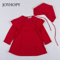JOYHOPY Quality Knitted Girls Long Sleeve Dress 2017 Winter Autumn White Red Baby Girl Princess Dress