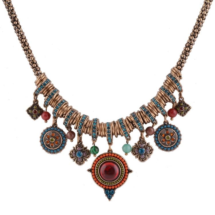Prix pour Vintage Bohême Style Mode Bijoux Or-couleur Forme Ronde Colorée Résine Pierre et Perles Pendentifs Déclaration Collier pour les Femmes