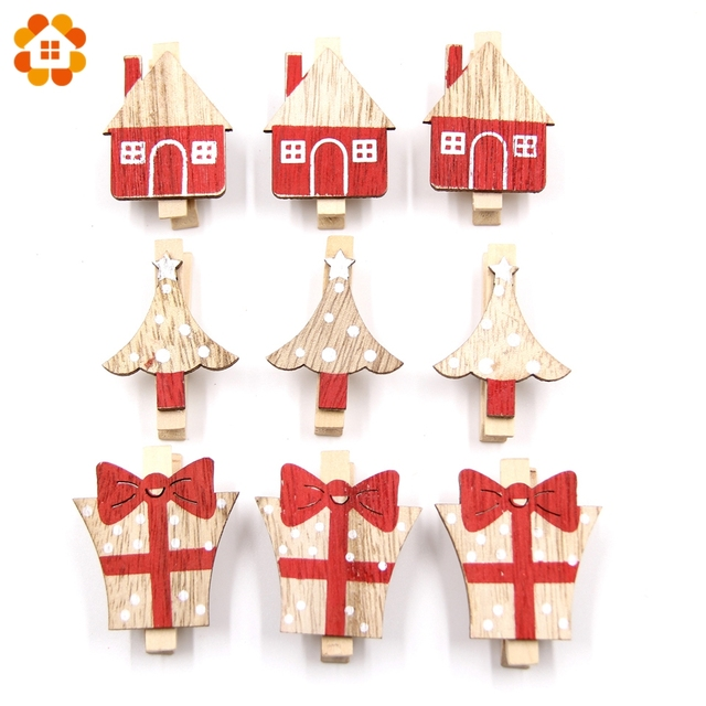 20PCS Clips White&Red Wooden Clips Photo Clips Christmas Clip DIY Wood Crafts For Home Wedding Birthday Christmas Party Supplies