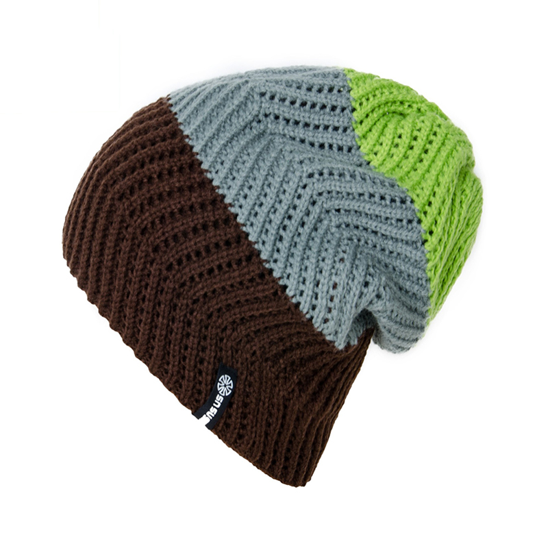 New Brand Winter   Beanies   Hat Patchwork Striped   Skullies     Beanies   Knit Cap Hats For Men Women Knitted Gorro Caps 3 Color