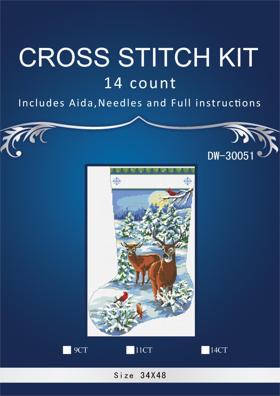 Vánoční ponožka styl Rozměry malování domů Dekor počítané bílé plátno Křížové stehy14ct vyšívání Set3th