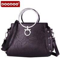 DOODOO Fasion Women Brand New Design Handbag Solid Color Metal Ring Tote Bag Female Shoulder Bags