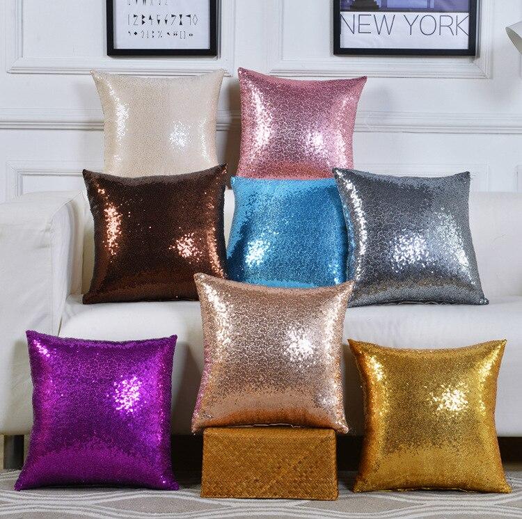 40 40Cm Pillowcase Cushions with Sequins Cushion Sofa Home Decor Decorative Pillows Glitter Throw Pillow 1PC in Cushion from Home Garden