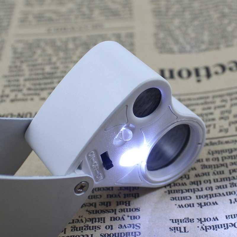 חדש 30X 60X מואר זכוכית מגדלת זכוכית מגדלת עדשה כפולה לאם תכשיטי הערכת אוסף כלי עם 2 LED אורות