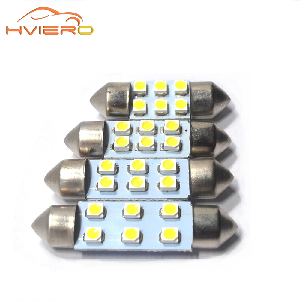 1Pcs Bright White Dome Festoon light c5w Car led 3528 1210 6 SMD 31MM 36MM 39MM 41mm Auto Door Led Reading bulbs Glove box Light hot sale 31mm 12 led 3528 1210 smd festoon dome c5w car auto interior lights reading bulbs door lamp dc12v