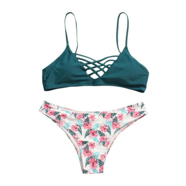 13a9e008dd769 Two-color Mesh Opening Chest Strap Split Bikini Beach Swimsuit Suit Fresh  Green Floral Pattern