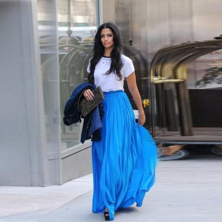 Aliexpress.com : Buy Hot Sale Fashion Long Blue Skirts A Line ...