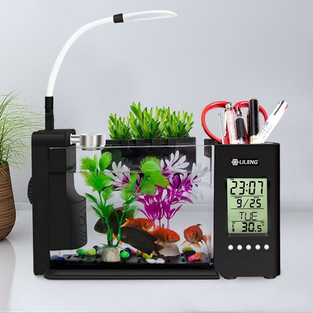Aquarium Aquarium Aquarium USB avec écran d'affichage à cristaux liquides de lumière de lampe à LED et horloge Aquarium réservoir de poissons Aquarium réservoirs de poissons noir/blanc