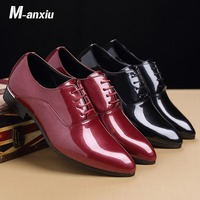 M anxiu Black Red Patent Leather Derbies Shoes Mens Formal Dress Shoes Pointed Toe Lace Up Business Shoes Gift for Boyfriend