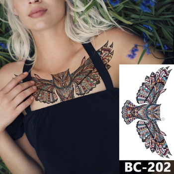 1 Sheet Chest Body Tattoo Temporary Waterproof Jewelry Bohemian colored owl Pattern Decal Waist Art Tattoo Sticker for Women