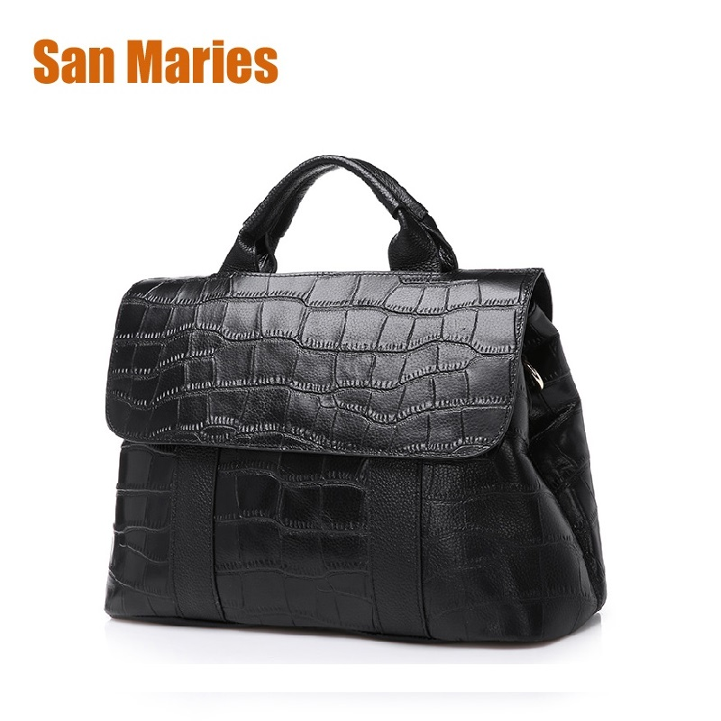 San Maries New Stone Pattern Women Bag Handbags 2018 Woman Messenger Bags Crossbody Shoulder Bags Ladies Genuine Leather Handbag 3d frog print ladies handbag women lovely note pattern handbags handbag messenger bag purse multifuction bags
