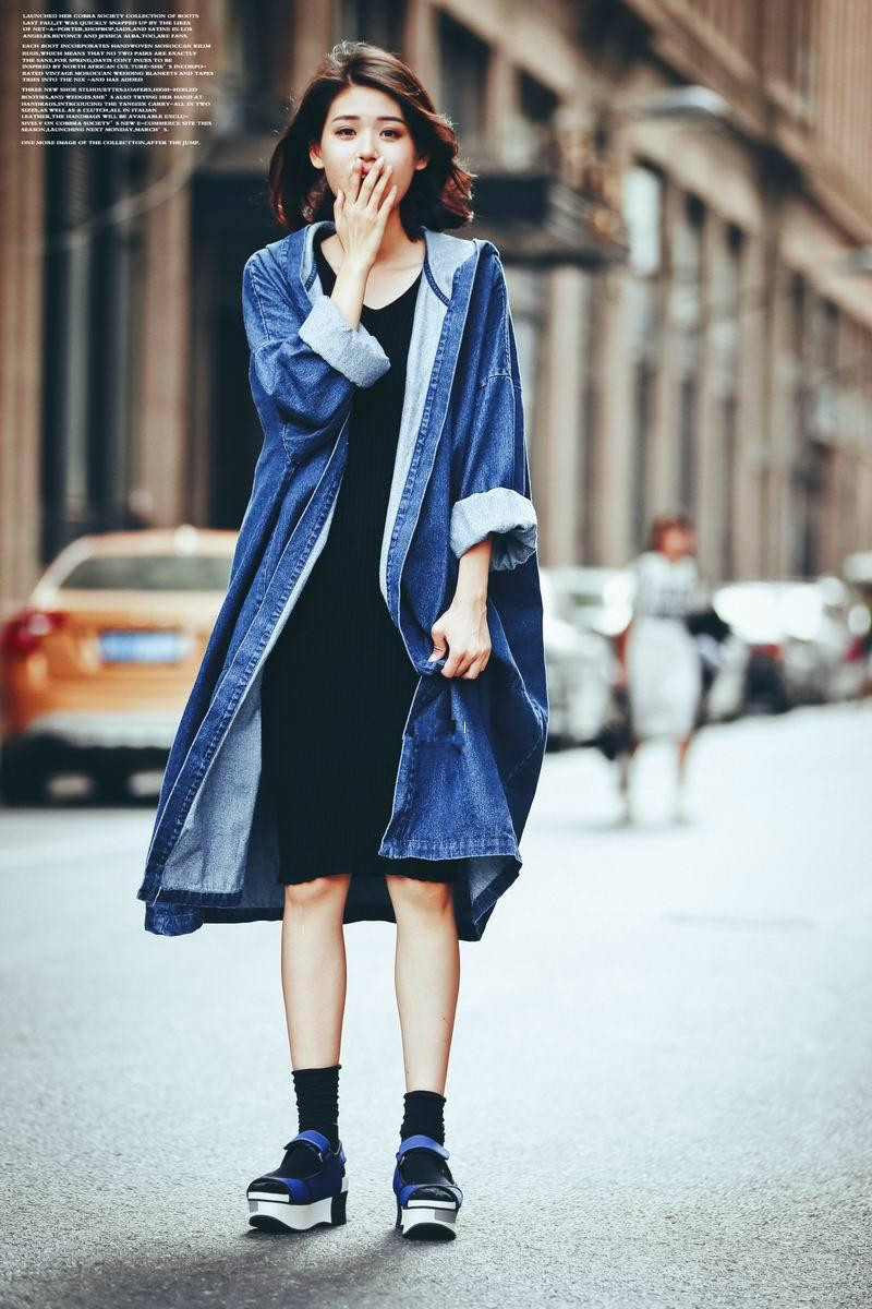 European And American Style Women Loose Super Long Coat Jacket Fashion Hooded Denim Long Open