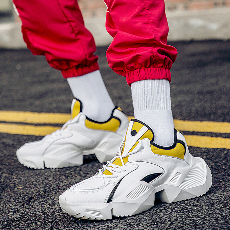 FIDANEI גברים שמנמן נעלי איכות עור מפוצל לנשימה מזדמן אבא נעלי תחרה עד אופנה חיצוני גברים סניקרס נעלי גופר