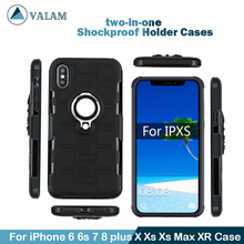 Shockproof Holder Cases Cover For iPhone 7 8 plus Xs Max XR X Luxury Magnetic Ring Case 6 6s xr