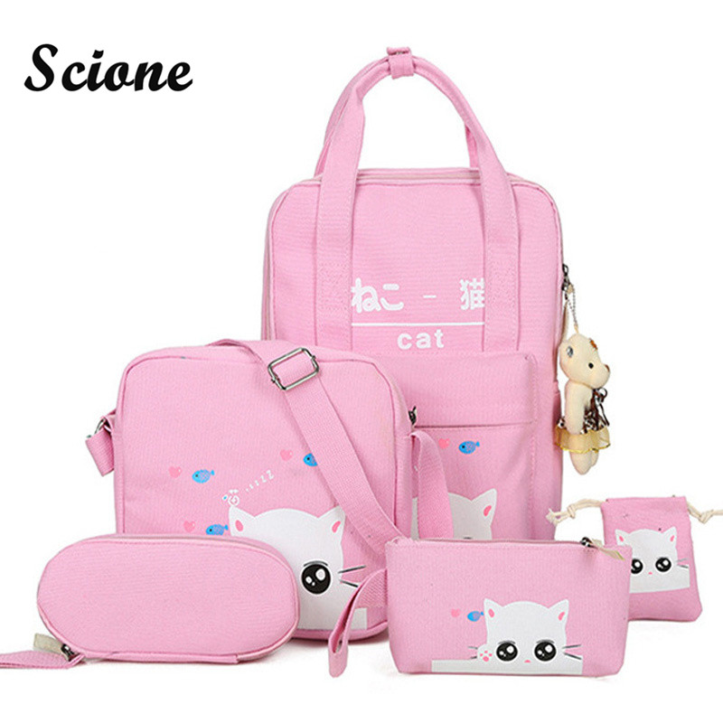Scione Cartoon Kawaii Cat Printing Backpack Set Canvas Middle High School Bag Laptop Travel Backpack Bagpack