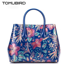 Original national wind leather ladies handbag 2017 Spring embossed large capacity hand bag woman Shoulder Messenger