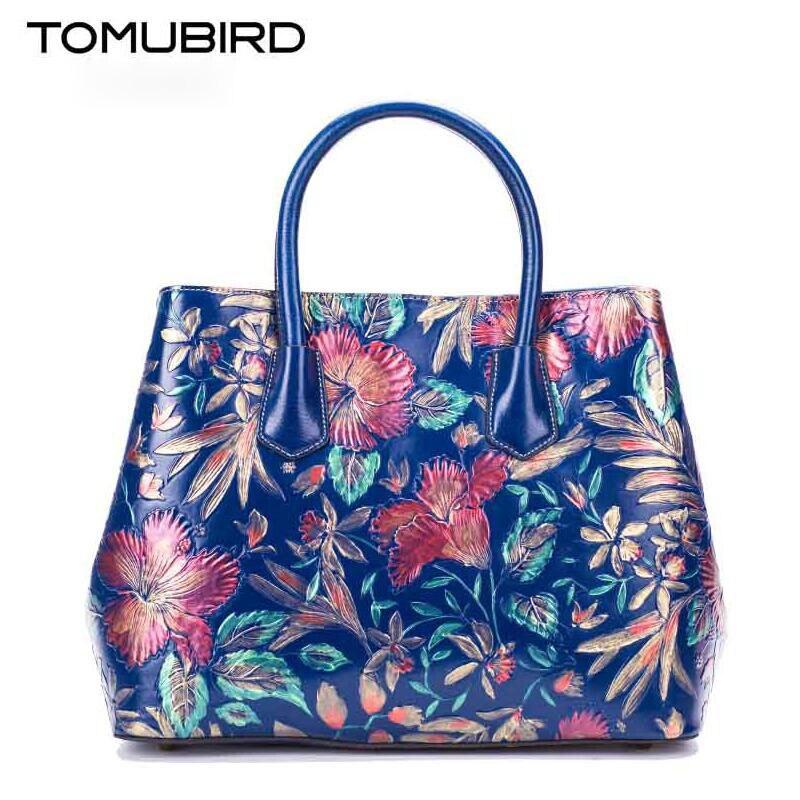 Original national wind leather ladies handbag 2017 Spring embossed large capacity hand font b bag b