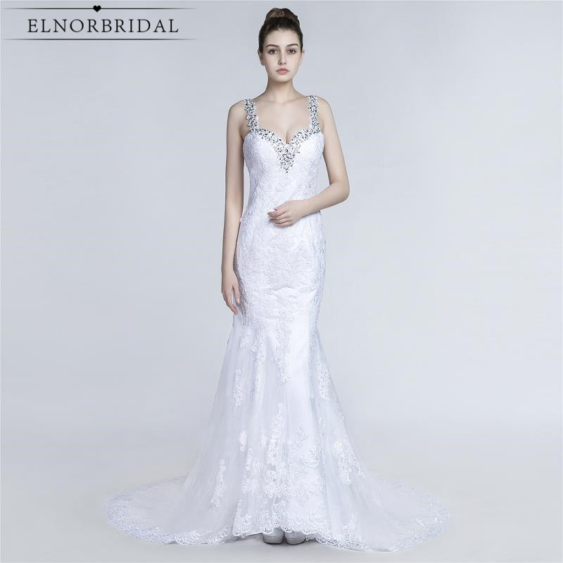 Modest Backless Mermaid Wedding Dresses 2017 Robe De Mariee Beading Lace Bridal Gowns Handmade Free Shipping