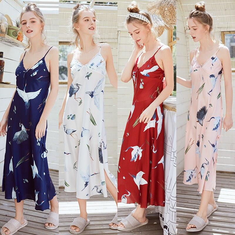 Ladies Women Sexy Sleepwear Oversize Satin Long Nightdress Silk Sexy Lingerie Nightgown Spaghetti Strap Sleepshirts Homewear