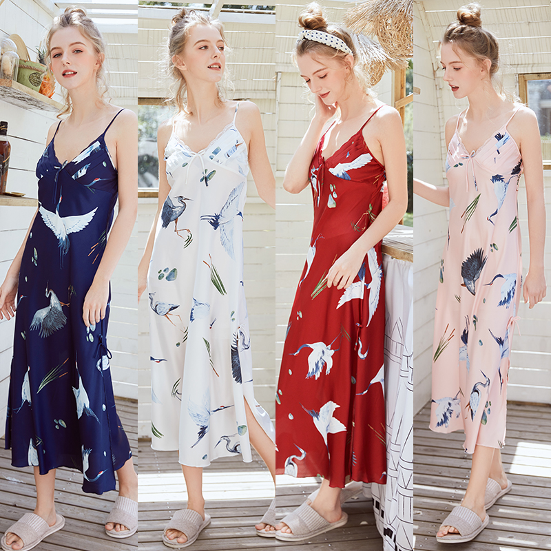 Ladies Women Sexy Sleepwear Oversize Satin Long Nightdress Silk Sexy Lingerie   Nightgown   Spaghetti Strap   Sleepshirts   Homewear