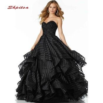 fc0fdb52d 2019 negro vestidos Quinceanera vestido de baile dulce 16 Quinceañera  hinchado vestido de Prom vestidos de