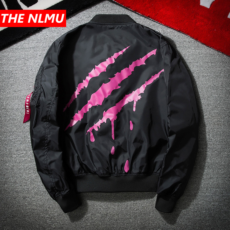Bomber Jacket Men Embroidery Scratch Print Jackets And Coats Men's Stand Collar Hip Hop Streetwear Outwear Fashion Clothes WE321