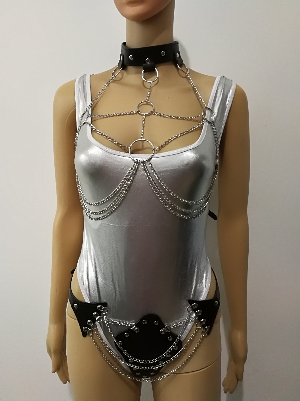 New Fashion Leather Style WRB940 Leather Harness Bondage Beach Bra Chain Collar Goth Choker Silver Necklace Jewelry Accessories ...