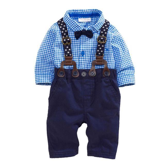 kids designer brand 2016 Baby Boys Pants Sets Plaid T-shirt Top Bib Pants Overall Outfits boys clothes sets free shipping #ML30