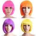 Новый 2017 Боб Парик Dance Party Парик Синтетического Волокна Короткие Волосы Для Женщин Peluca Плутон Cosplay Парик 4 Цвета